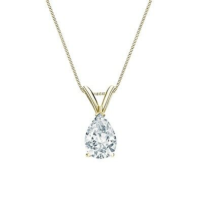 """2 Ct Pear Brilliant Cut Solid 14k Yellow Gold Solitaire Pendant 18"""" Necklace"""