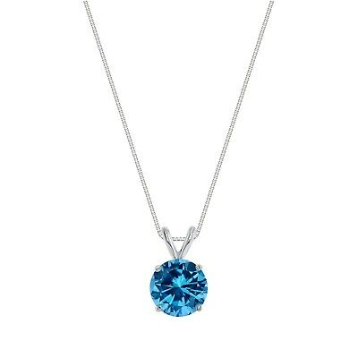 """1.75 Ct Round Cut Blue Solid 14k White Gold Solitaire Pendant 18"""" Necklace"""