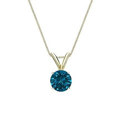 """1.75 Ct Round Cut Blue Solid 14k Yellow Gold Solitaire Pendant 18"""" Necklace"""