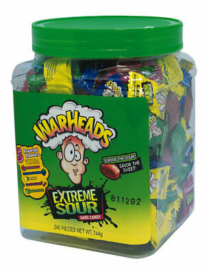 Warhead Extreme Sour 240 Warheads Assorted Flavours Tub