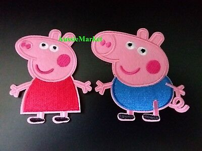 1 x pig patch patches girls dress jeans iron sew on transfer farm animal pink