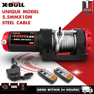 Wireless 4500LBS/2039kg 12V Boat ATV 4WD Electric WINCH Steel Cable 2 REMOTE
