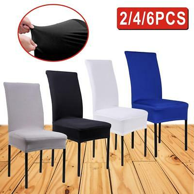 2/4/6 Pcs Removable Stretch Slipcovers Dining Lycra Spandex Chair Seat Cover