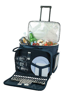 Avanti Navy 6 Person Picnic Trolley Set RRP $299.00 Basket Cooler Bag Cutlery