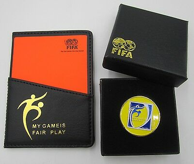 FOOTBALL SOCCER Referee Red Yellow Card & Flip Coin gift box