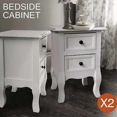 2 pc Assembly Free White Bedside Cabinet Nightstand Table Chest Drawer Furniture