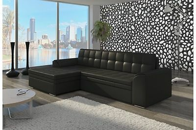 Brand New Modern Fabric Corner Sofa Bed CONFORTI With Left Right Side