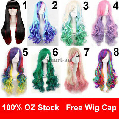 Womens Long Wavy Curly Mixed Hair Synthetic Cosplay Full Wig Wigs Party Cos
