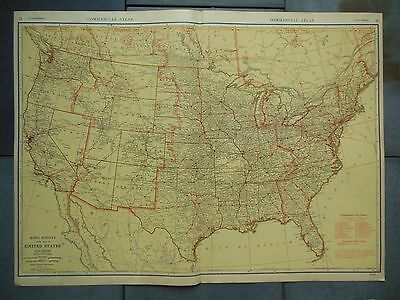 """Large Beautiful 1942 Vintage Map of United States Airlines /  20 1/2"""" x 27 5/8"""""""