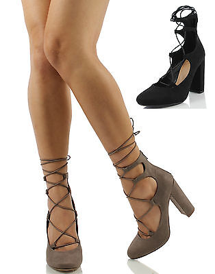 8ee35dea642 DELICIOUS WOMEN S MAZIE Lace Up Cage Gladiator Block Heel Dress ...