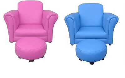 Children's Rocking Chair / Sofa With Footstool Blue, Pink