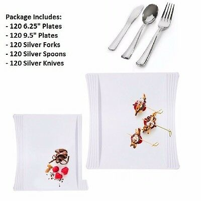 """600pc Party Set 120 Settings Dessert+ Dinner Plates+ Cutlery White """"Hotelware"""""""