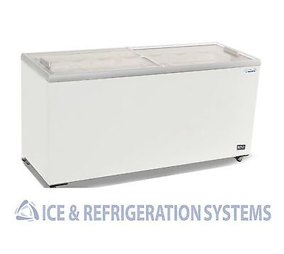 """Metalfrio 70"""" Commercial Glass Top Novelty Ice Cream Freezer Chest Msf70"""