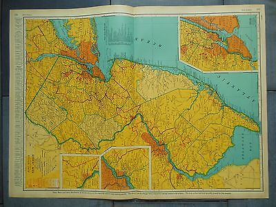"""Large Beautiful 1942 Vintage Full Color Map of New Jersey   20 1/2"""" x 27 5/8"""""""