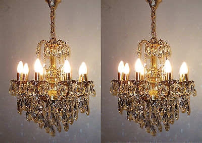 Ceiling Pendant Light Pair Brass Antique French Vintage Angel Crystal Chandelier