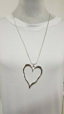 New Lagenlook Silver Colour Long Big Abstract Heart Necklace Pendant