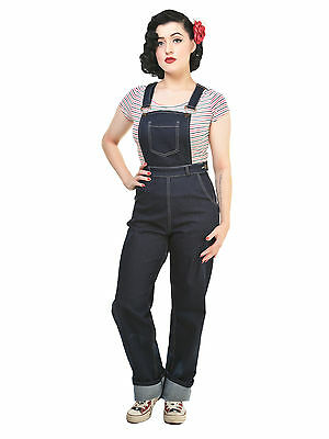 Collectif Pippa Dungarees Overalls Navy Blue 40s 50s Retro Vintage Rockabilly