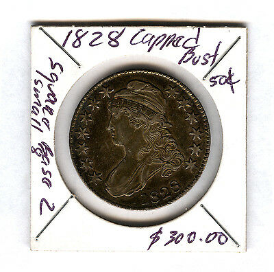 1828 Capped Bust 50 Cent square base 2, small 8 coin