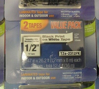 2 pack Brother P-Touch genuine original OEM TZe-231 BLACK ON WHITE Label Tape