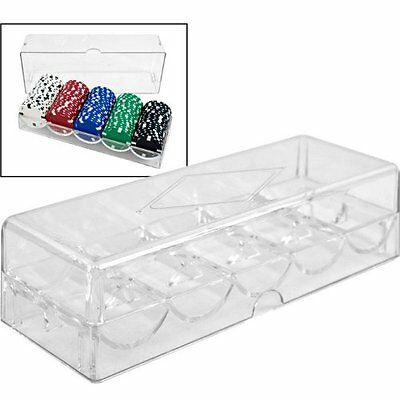Trademark 600-Piece Clear Acrylic Case Holds 6 Chip Trays Poker   New Fast Shipp