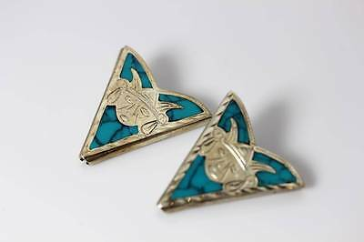 "Vintage Sterling Silver w/Inlay Turquoise Aztec Collar Tips 1-5/8"" - 3870"