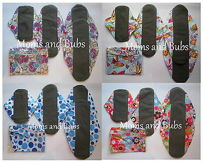 Set of 4 Reusable Women's Reusable Cloth Menstrual Sanitary Pads + Mini Wet Bag