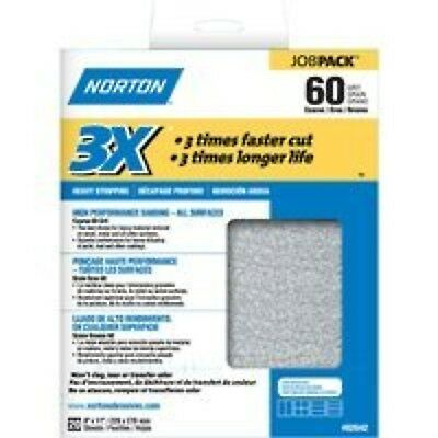Norton 2642 9 x 11 In. 3X Job Pack 60 Grit includes 20 sheets