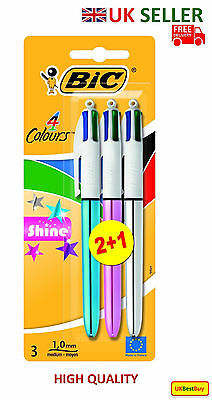 Bic Shine Retractable Ballpoint Pen Blister Pack of 3 Assorted Colours - UK
