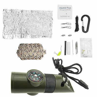 Survival Emergency Camping Fishing Tools Kit + Whistle Gear Compass Desert camo