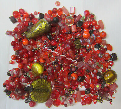 Red Bead Mix Foil, Glass, Gold Tone, Metal Pearl Lampwork Mixed & Assorted Beads