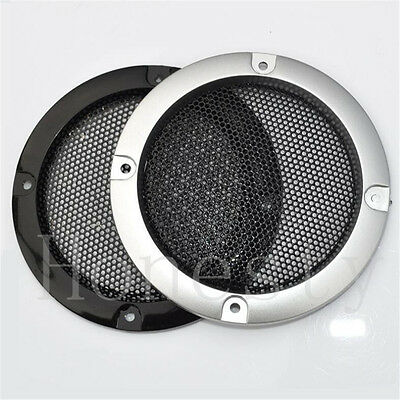 1pc 3''/2'' Silver /Black Circle Speaker Cover Decor With Protective Grille