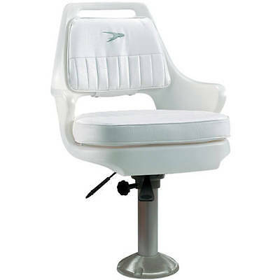 """Wise Deluxe Helm Chair with 15"""" Locking Pedestal and Seat Slide Bracket, White"""