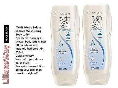 2 x AVON SKIN SO SOFT IN SHOWER MOISTURISING BODY LOTION WITH JOJOBA OIL 250ML