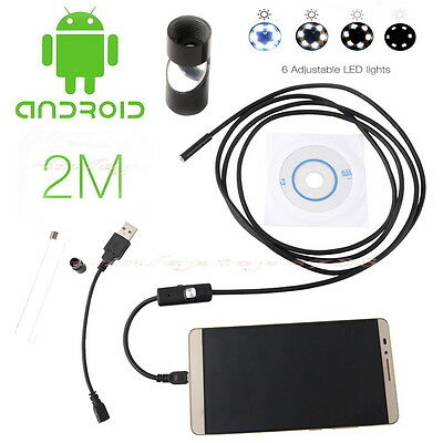 7mm USB For Android Samsung Endoscope IP67 Inspection Borescope 6 LED Camera 2M