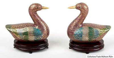 China 20. Jh Gänse A Pair Chinese Plique a jour Cloisonne Geese - Cinese Chinois
