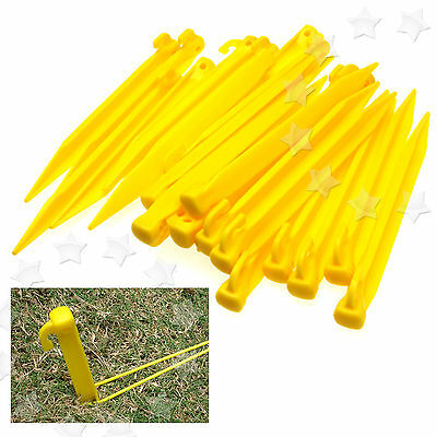 "24 x 9"" 225mm Durable Plastic Tent Pegs Spike Hook Awning Camping Caravan"