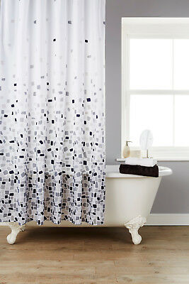 Waterline Vibrant Mosaic Grey Polyester Shower Curtain Including 12 White Hooks