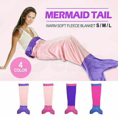 Soft Flannel Mermaid Tail Blanket Fish Bag Fleece snuggle-in Bed Costume Kid New