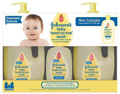 2 pk Johnson's Baby Head To Toe Wash Hypoallergenic No More Tears Hair 33.8 oz