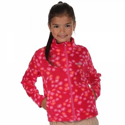 Regatta Tycoon Kids Girls Childrens Full Zip Fleece Jumper Top - Virtual Pink