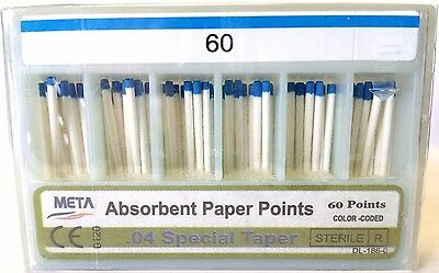 META ABSORBENT PAPER POINTS .04 SPECIAL TAPER #60 (60 PTS) BLUE paperpoint