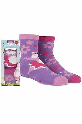 Girls 2 Pair Totes Tots Circus Hippo Slipper Socks with Grip