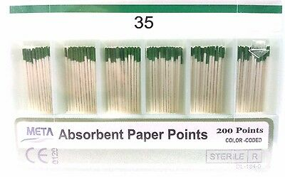 META ABSORBENT PAPER POINTS COLOR CODED  #35 (200 PTS) GREEN paperpoint