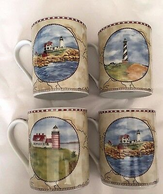 Set of 4 American Atelier Mugs Signals 5100 Series Lighthouses NEW
