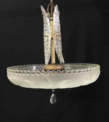 "Vintage WONDERFUL ART DECO CHANDELIER 1930's Heavy Glass Unique Glass ""wings"""