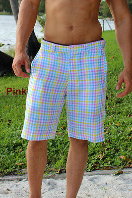 Mens Bohio 100% Linen Pink Plaid Casual Flat Front Shorts Size(32 ~ 40)-MLHY1512