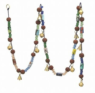 """Chime of Eleven Polished Brass Bells 0.75"""" High w/ Beautiful Beads on 60"""" String"""