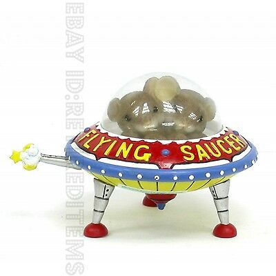 "New w/TEAR ""Friendship Is Universal"" CHARMING TAILS FIGURINE Flying Saucer mice"
