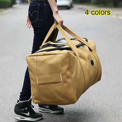 80L Large Canvas Hand Luggage Travel Backpack Duffle Duffel Bag Storage Pack New