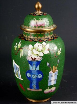 China 20. Jh. Deckelvase - A Chinese Cloisonne Enamel Vase - Cinese Chinois
